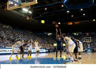 LOS ANGELES - FEB 26: Arizona Wildcats forward Derrick Williams #23 shoots during the NCAA basketball game between the Arizona Wildcats and the UCLA Bruins on Feb 26, 2011 at Pauley Pavilion.