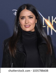 """LOS ANGELES - FEB 26:  Salma Hayek arrives for the """"A Wrinkle In Time"""" World Premiere on February 26, 2018 in Hollywood, CA"""