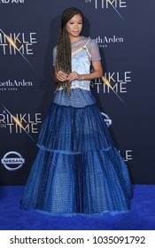 """LOS ANGELES - FEB 26:  Storm Reid arrives for the """"A Wrinkle In Time"""" World Premiere on February 26, 2018 in Hollywood, CA"""