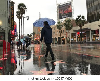 LOS ANGELES, Feb 2nd, 2019: Low angle shot of a man with umbrella walking across the stars on the wet and shiny pavement on Hollywood Walk of Fame in front of the Chinese Theatre, during a rainstorm.