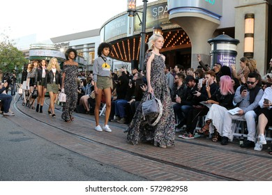 "LOS ANGELES - FEB 4:  Coco Rocha (Blonde), models at the Rebecca Minkoff's ""See Now, Buy Now"" Fashion Show at Grove on February 4, 2017 in Los Angeles, CA"