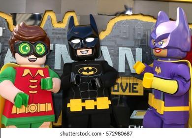 """LOS ANGELES - FEB 4:  Lego Robin, Lego Batman, Lego Batgirl at the """"Lego Batman Movie"""" Premiere at Village Theater on February 4, 2017 in Westwood, CA"""