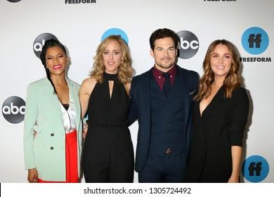 LOS ANGELES - FEB 5:  Kelly McCreary, Kim Raver, Giacomo Gianniotti, Camilla Luddington at the ABC Television Winter Press Tour at the Langham Huntington Hotel on February 5, 2019 in Pasad