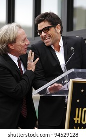 LOS ANGELES - FEB 6: Dewey Bunnell; Gerry Beckley; John Stamos at a ceremony where their rock band 'America' in honored with a star on the Hollywood Walk of Fame in Los Angeles, California. Feb 6, 2012