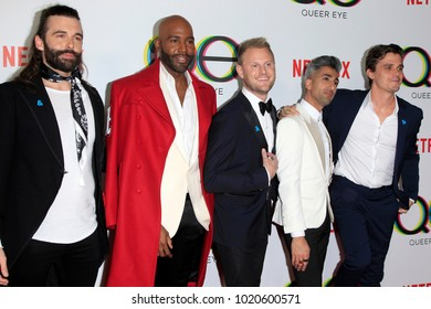 """LOS ANGELES - FEB 7: Jonathan Van Ness, Karamo Brown, Bobby Berk, Tan France, Atoni Porowski at the """"Queer Eye"""" Season 1 Premiere at the Pacific Design Center on February 7, 2018 in West Hollywood, CA"""
