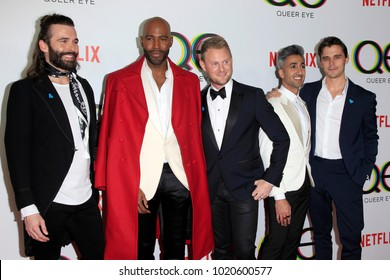 "LOS ANGELES - FEB 7: Jonathan Van Ness, Karamo Brown, Bobby Berk, Tan France, Atoni Porowski at the ""Queer Eye"" Season 1 Premiere at the Pacific Design Center on February 7, 2018 in West Hollywood, CA"