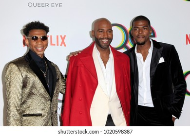 """LOS ANGELES - FEB 7:  Karamo Brown, sons at the """"Queer Eye"""" Season One Premiere Screening at the Pacific Design Center on February 7, 2018 in West Hollywood, CA"""