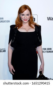 LOS ANGELES - FEB 9:  Christina Hendricks at the 28th Elton John Aids Foundation Viewing Party at the West Hollywood Park on February 9, 2020 in West Hollywood, CA