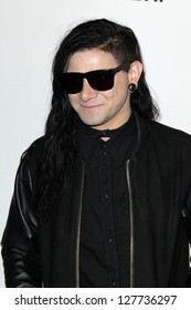 LOS ANGELES - FEB 9:  Skrillex arrives at the Clive Davis 2013 Pre-GRAMMY Gala at the Beverly Hilton Hotel on February 9, 2013 in Beverly Hills, CA