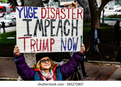 LOS ANGELES - FEBRUARY 20. Protesters at City Hall on President's Day protesting Donald Trump on February 20, 2017 at City Hall in downtown Los Angeles.