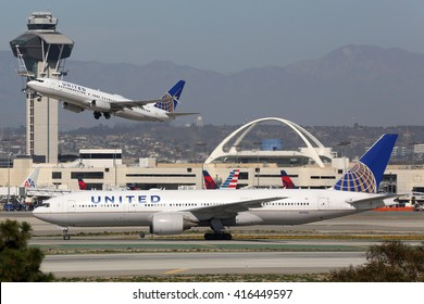 LOS ANGELES - FEBRUARY 22: United Airlines airplanes on February 22, 2016 in Los Angeles. United Airlines is an American airline headquartered in Chicago.