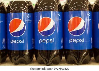 Los Angeles - February 28, 2021: Three plastic bottles of Pepsi