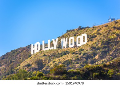 LOS ANGELES - FEBRUARY 29, 2016: The Hollywood sign on Mt. Lee. The iconic sign was originally created in 1923.