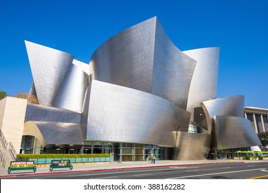 LOS ANGELES - FEBRUARY 29, 2016: The Walt Disney Concert Hall in LA. The building was designed by Frank Gehry and opened in 2003.