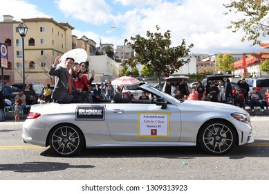 LOS ANGELES - FEBRUARY 9, 2019: Assemblyman Edwin Chau rides in the Los Angeles Chinese New Year Parade.