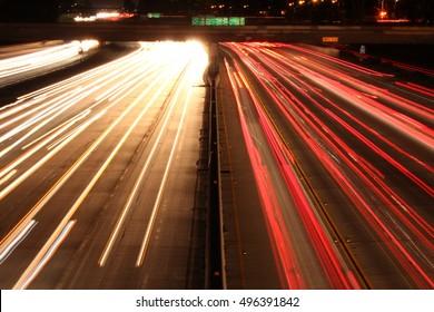 Los Angeles freeway at night.