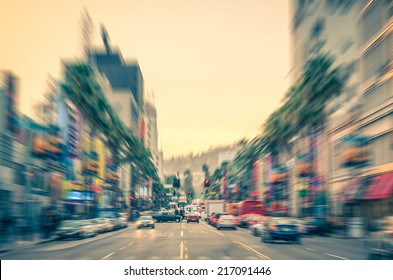 Los Angeles - Hollywood Boulevard before sunset - Walk of Fame on a radial defocused vintage filtered look