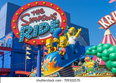 Los Angeles, Hollywood, USA - July 30 2016: Simpsons ride in the Universal Studios park