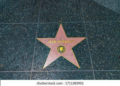 LOS ANGELES, HOLLYWOOD, USA - MARCH 29, 2020: Jean Hersholt star on Hollywood Walk of Fame in Los Angeles, California, USA