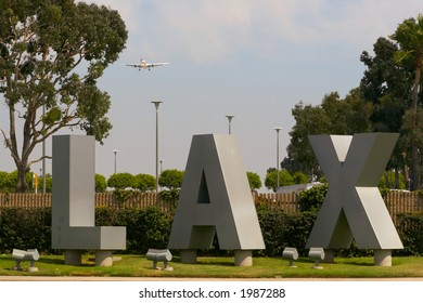 Los Angeles International Airport with plane in the background