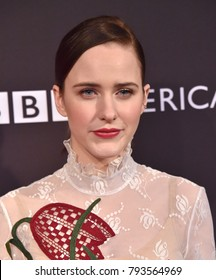 LOS ANGELES - JAN 06:  Rachel Brosnahan arrives for the BAFTA Tea Los Angeles on January 06, 2018 in Beverly Hills, CA