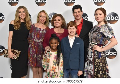 LOS ANGELES - JAN 08:  Sarah Chalke, Lecy Goranson, Roseanne Barr, Michael Fishman and Emma Kenney arrives for the ABC Winter 2018 TCA Event on January 08, 2018 in Pasadena, CA