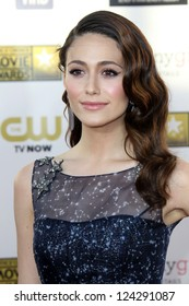 LOS ANGELES - JAN 10:  Emmy Rossum arrives at the 18th Annual Critics' Choice Movie Awards at Barker Hanger on January 10, 2013 in Santa Monica, CA