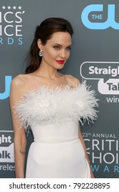 LOS ANGELES - JAN 11:  Angelina Jolie at the 23rd Annual Critics' Choice Awards at Barker Hanger on January 11, 2018 in Santa Monica, CA