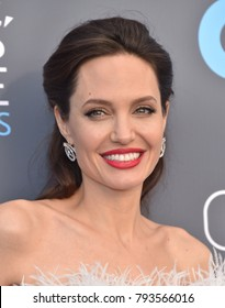 LOS ANGELES - JAN 11:  Angelina Jolie arrives for the 23rd Annual Critics' Choice Awards on January 11, 2018 in Santa Monica, CA