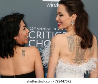 LOS ANGELES - JAN 11:  Loung Ung, Angelina Jolie at the 23rd Annual Critics' Choice Awards at Barker Hanger on January 11, 2018 in Santa Monica, CA