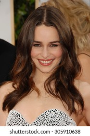 LOS ANGELES - JAN 12:  Emilia Clarke arrives to the 2014 Golden Globe Awards  on January 12, 2014 in Beverly Hills, CA