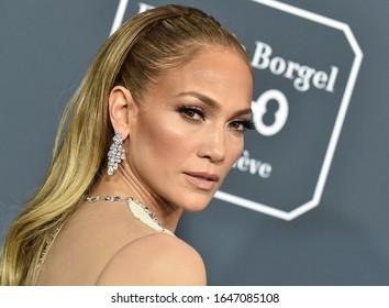 LOS ANGELES - JAN 12:  Jennifer Lopez arrives for the 25th Annual Critics' Choice Awards on January 12, 2020 in Santa Monica, CA