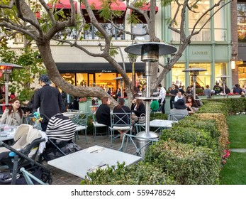 LOS ANGELES, JAN 14TH, 2017: People are having tea at La Duree, the new, popular French garden cafe restaurant at the Grove near Farmers Market at 3rd and Fairfax in Los Angeles.