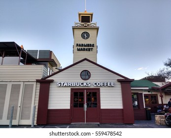 LOS ANGELES, JAN 14TH, 2017: Close up of the famous original clock tower, built in 1948, at Farmers Market at 3rd and Fairfax in Los Angeles near The Grove, which now houses a Starbucks.