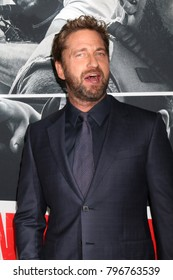 """LOS ANGELES - JAN 17:  Gerard Butler at the """"Den of Thieves"""" Premiere at Regal LA Live Theaters on January 17, 2018 in Los Angeles, CA"""