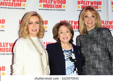 """LOS ANGELES - JAN 18: Donna Mills, Donna Pescow, Teresa Ganzel at the Hollywood Museum's celebration for the 40th Anniversary of """"Knots Landing"""" on January 18, 2020 in Los Angeles, California,"""