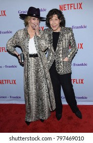 "LOS ANGELES - JAN 18:  Lily Tomlin and Jane Fonda arrives for the ""Grace and Frankie"" Season 4 Premiere on January 18, 2018 in Palm Springs, CA"
