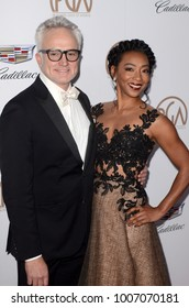 LOS ANGELES - JAN 20:  Bradley Whitford, Betty Gabriel at the Producers Guild Awards 2018 at the Beverly Hilton Hotel on January 20, 2018 in Beverly Hills, CA