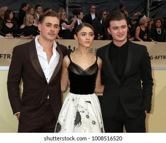 LOS ANGELES - JAN 21:  Dacre Montgomery, Natalia Dyer, Joe Keery at the 24th Screen Actors Guild Awards - Press Room at Shrine Auditorium on January 21, 2018 in Los Angeles, CA