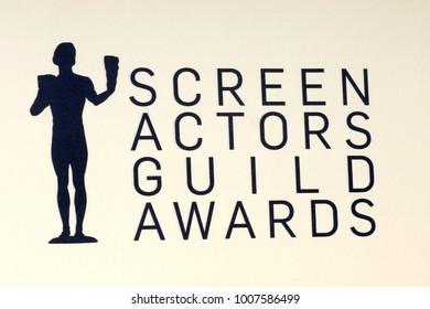 LOS ANGELES - JAN 21:  Screen Actors Guild Emblem at the 24th Screen Actors Guild Awards - Press Room at Shrine Auditorium on January 21, 2018 in Los Angeles, CA