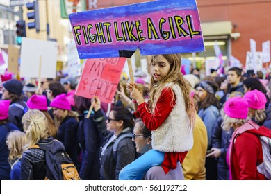 Los Angeles, JAN 21: Special Women March event and Protesters on JAN 21, 2017 at Los Angeles, California