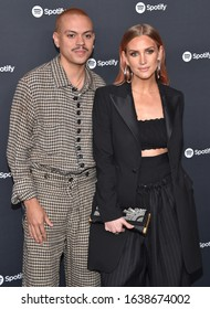 LOS ANGELES - JAN 23:  Evan Ross and Ashlee Simpson arrives for the Spotify Best New Artist 2020 Party on January 23, 2020 in Los Angeles, CA