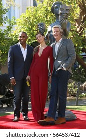 LOS ANGELES - JAN 25:  Jason George, Angela Sarafyan, Matthew Modine at the Greet the Actor Statue - SAG Event at The Grove on January 25, 2017 in Los Angeles, CA