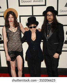 LOS ANGELES - JAN 26:  Charlotte Kemp Muhl, Yoko Ono and Sean Lennon  arrives at the 56th Annual Grammy Awards Arrivals  on January 26, 2014 in Los Angeles, CA