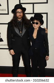 LOS ANGELES - JAN 26:  Sean Lennon and mother Yoko Ono arrives at the 56th Annual Grammy Awards Arrivals  on January 26, 2014 in Los Angeles, CA