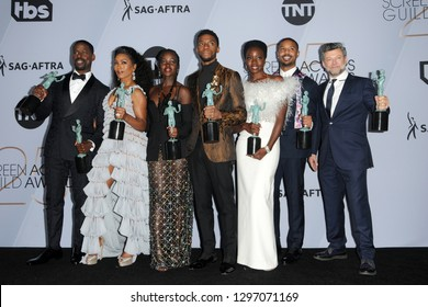 LOS ANGELES - JAN 27:  Black Panther Cast at the 25th Annual Screen Actors Guild Awards at the Shrine Auditorium on January 27, 2019 in Los Angeles, CA