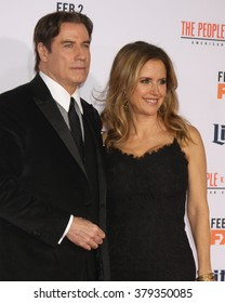LOS ANGELES - JAN 27:  John Travolta, Kelly Preston at the American Crime Story - The People V. O.J. Simpson Premiere at the Village Theater on January 27, 2016 in Westwood, CA