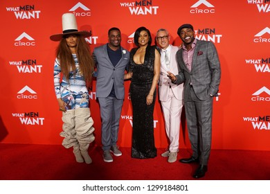 LOS ANGELES, Jan 28th, 2019: Erykah Badu, producer James Lopez, Taraji P. Henson, director Adam Shankman and producer Will Packer at the U.S. premiere of WHAT MEN WANT at the Regency Village Theatre.
