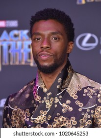 LOS ANGELES - JAN 29:  Chadwick Boseman arrives for the 'Black Panther' World Premiere on January 29, 2018 in Hollywood, CA