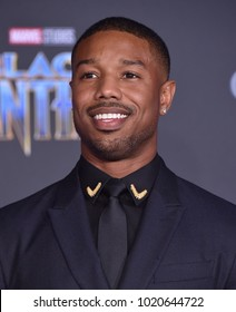 LOS ANGELES - JAN 29:  Michael B. Jordan arrives for the 'Black Panther' World Premiere on January 29, 2018 in Hollywood, CA